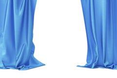 蓝色天鹅绒阶段帷幕,猩红色剧院布 丝绸古典帷幕,蓝色剧院帷幕 3d翻译 免版税库存照片