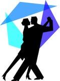 蓝色夫妇跳舞eps探戈 免版税库存图片