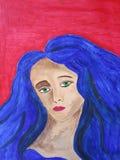 蓝色头发妇女 免版税库存照片