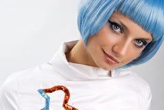 蓝色头发 库存照片