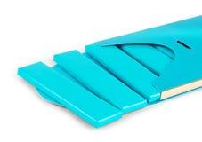 蓝色套塑料箔小包,包装或者封皮fo视觉  免版税库存图片