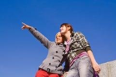 蓝色女孩天空二 图库摄影