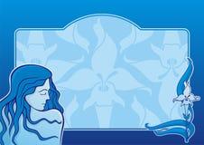 蓝色女孩水平的温泉 库存照片