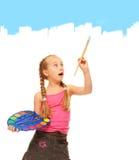 蓝色女孩油漆绘画 免版税库存照片