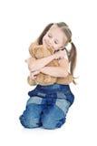 蓝色女孩牛仔裤一点 免版税库存图片