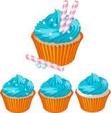 蓝色奶油色杯形蛋糕 图库摄影