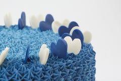 蓝色奶油色蛋糕 免版税库存图片