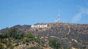 蓝色好莱坞符号天空 免版税库存图片