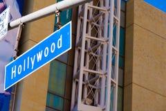 蓝色好莱坞路牌 免版税库存图片