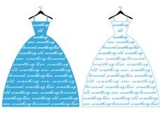 蓝色婚礼礼服,传染媒介 库存图片