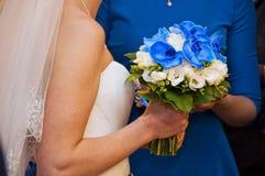 蓝色婚礼花 免版税库存照片