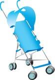 蓝色婴儿推车 免版税库存照片