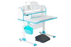 蓝色学校书桌、蓝色篮子、台灯和黑支持在腿下 库存图片