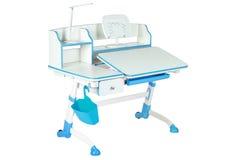 蓝色学校书桌、蓝色篮子和台灯 图库摄影