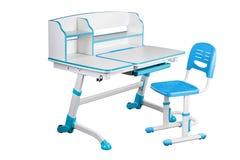 蓝色学校书桌和蓝色椅子 库存照片