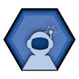 蓝色宇航员图形设计商标 免版税图库摄影