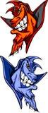 蓝色守护程序恶魔徽标吉祥人向量 免版税库存照片