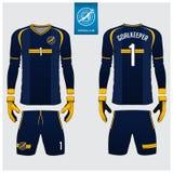 蓝色守门员球衣或足球成套工具,长的袖子球衣,守门员手套模板设计 前面和后面看法橄榄球制服 向量例证