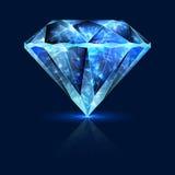蓝色宝石光亮的蓝宝石晶体 库存照片