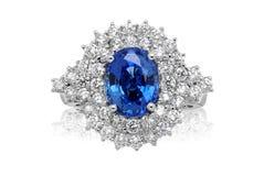 蓝色宝石圆环 免版税图库摄影