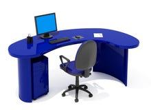 蓝色家具办公室 库存例证