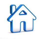 蓝色家庭按钮象 免版税库存照片