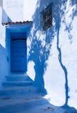 蓝色家的舍夫沙万,摩洛哥 库存图片