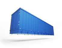 蓝色容器发运 库存图片