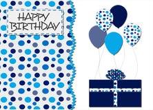 蓝色小点和气球生日贺卡 免版税库存图片