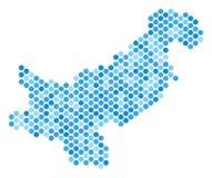 蓝色小点巴基斯坦地图 库存图片