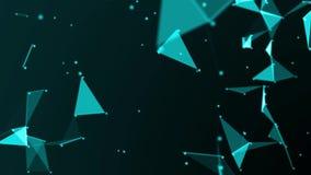 蓝色小点抽象未来派几何结节数字网和空白线路、小点、三角和结 计算机网络Singl 向量例证