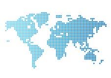 蓝色小点映射围绕世界 库存照片