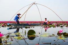 蓝色小船渔的女渔翁通过使用钓鱼传统fi 免版税库存图片