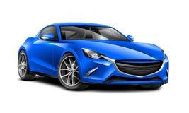 蓝色小轿车运动的汽车 有光滑的表面的普通汽车在白色背景 免版税库存图片