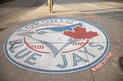 蓝色尖嘴鸟` s棒球商标,多伦多 需要的照片2016年11月01日 免版税库存照片