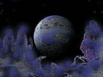 蓝色尘土行星 免版税图库摄影