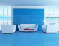 蓝色居住的现代空间 皇族释放例证