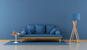 蓝色居住的现代空间 向量例证