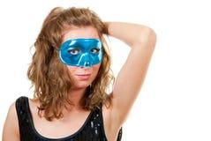 蓝色屏蔽妇女年轻人 免版税图库摄影