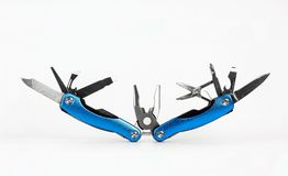 蓝色展开的钢多工具 库存图片