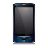 蓝色巧妙电池黑暗的电话 免版税库存照片