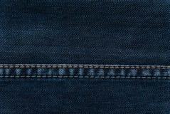 蓝色布料牛仔布缝纹理 库存照片