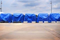 蓝色帆布盖子对象 图库摄影