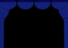 蓝色帷幕背景 向量例证