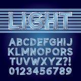 蓝色平行的霓虹灯字母表和数字 库存图片