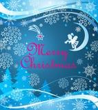 蓝色幼稚与切开一点天使、月牙、雪花、中看不中用的物品、冷杉和圣诞节星的纸的Xmas问候不可思议的横幅 库存照片
