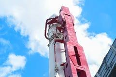 蓝色底层关闭四由喷嘴喷射火箭天空空间 蓝天bacground的俄罗斯 免版税库存照片