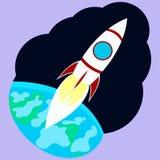 蓝色底层关闭四由喷嘴喷射火箭天空空间 图库摄影
