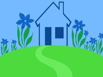 蓝色庭院房子 免版税库存照片