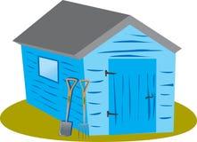 蓝色庭院棚子 库存图片